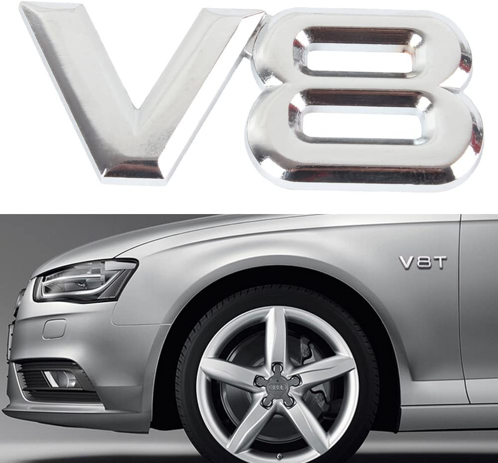 Auto Car Silver V6 Vintage Logo Chrome Trunk Metal Emblem Badge Decal Sticker