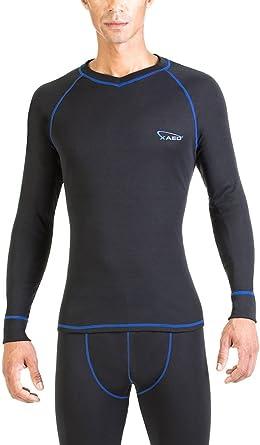 XAED - Camiseta térmica de manga larga para hombre (grande, negro/azul): Amazon.es: Ropa y accesorios