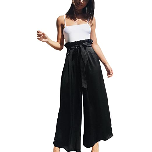 be9375842debd Overmal Women OL Loose Stretch High Waist Wide Leg Long Pants Palazzo  Trousers at Amazon Women s Clothing store