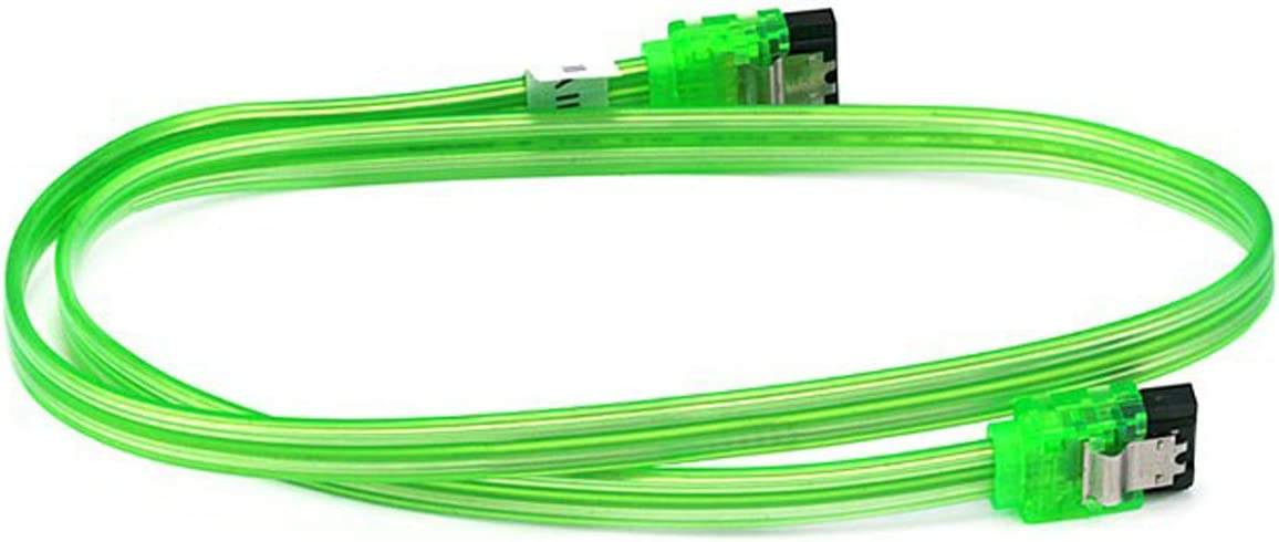 CNE567983 2 Pack 18inch SATA 6Gbps Cable w//Locking Latch UV Green