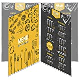 12 Menu Covers • 8.5'' Wide x 14'' Tall • 100% USA-MADE Commercial Quality • Booklet Style Side Open 4 Pocket - 8 View. All Clear Vinyl #ACV-81-8.5X14. SEE MORE: Type MenuCoverMan in Amazon search.