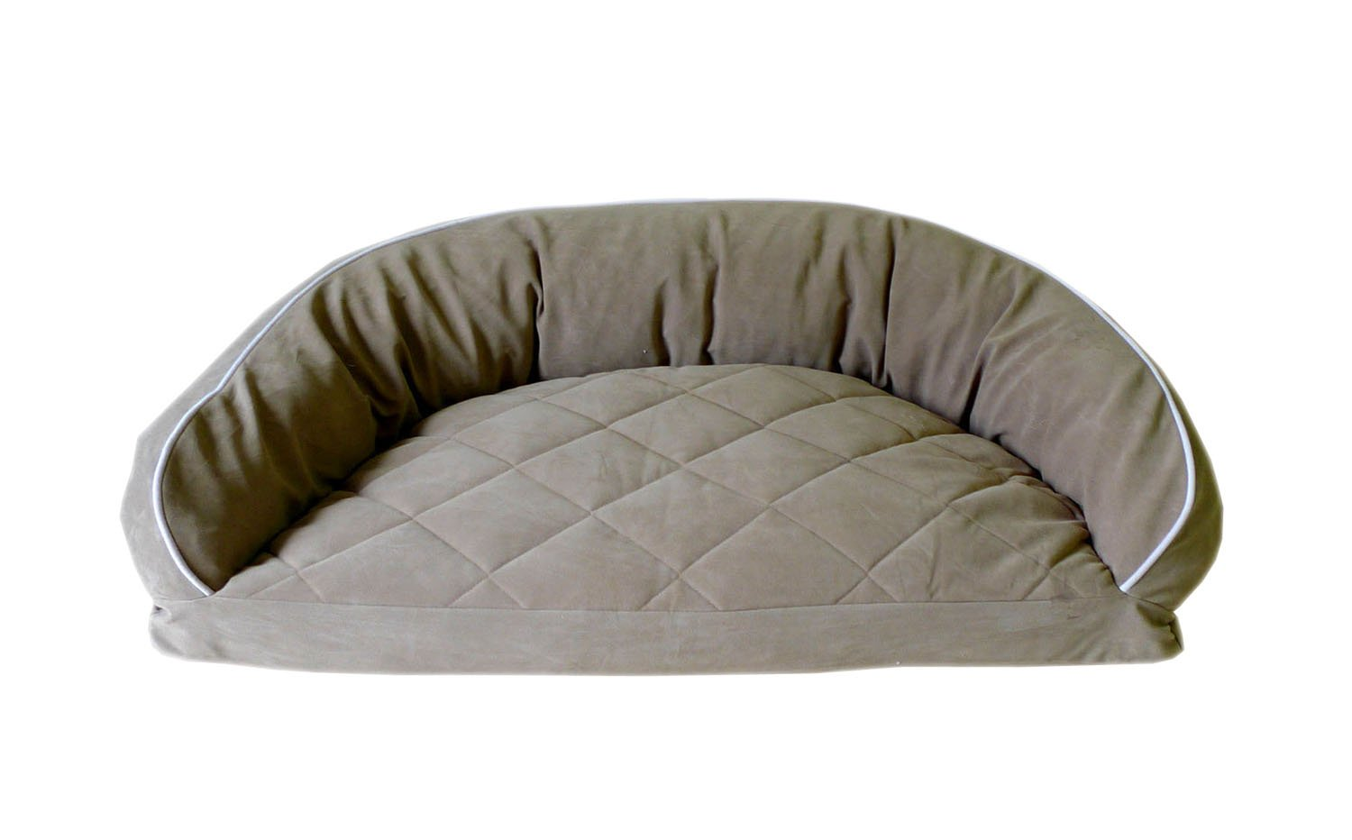 CPC Diamond Quilted Semi Circle Sage Lounge for Dogs and Cats with Linen Piping 35 x 23 x 12-inch