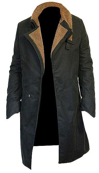 e Genius Officer K Blade Runner 2049 Ryan Gosling Fur Lapel Collar Leather Trench Pea Coat