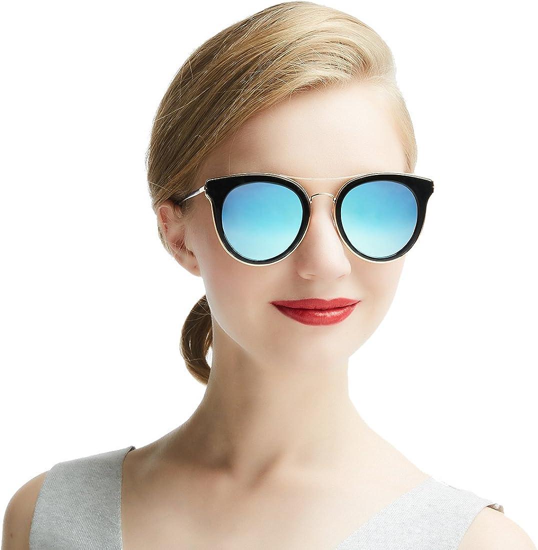 DADA-PRO Cateye Gafas De Sol Polarizadas para mujer Ladies Classic Vintage marca funda oscuro gafas para conducción/vacaciones/viaje, 100% UV 400protección, Fashion Star
