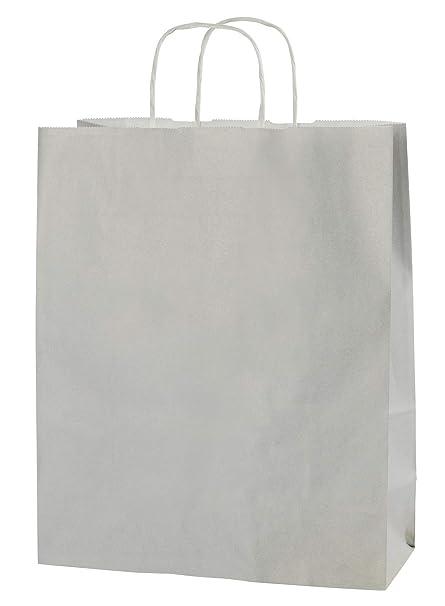 Thepaperbagstore 25 Bolsas De Papel De Colores, Reciclables Y Reutilizables, con Asas Retorcidas, Gris Claro - Medianas 250x110x310mm