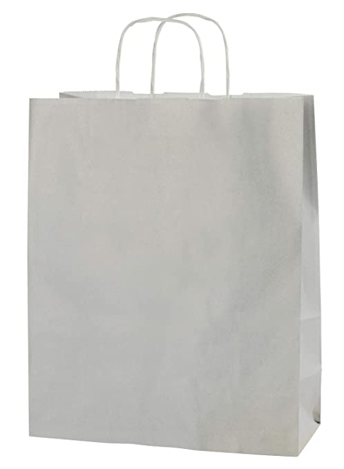 Thepaperbagstore 30 Bolsas De Papel De Colores, Reciclables Y Reutilizables, con Asas Retorcidas, Gris Claro - Medianas 250x110x310mm