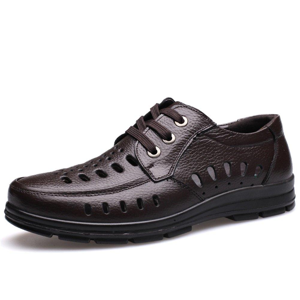 HUAN Herrenschuhe Ledersandalen Schuhe Casual Wanderschuhe Comfort Driving Shoes Formelle Geschäftsarbeit Brown Black D