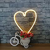 LED Heart Neon Light Sign - Night Lights Warm White Neon Lights Wall Decor Battery and USB Power Indoor Lighting Bedside and Table Lamps Decorative Lighting for Living Room, Bedroom, Party, Christmas Wedding Birthday Gif