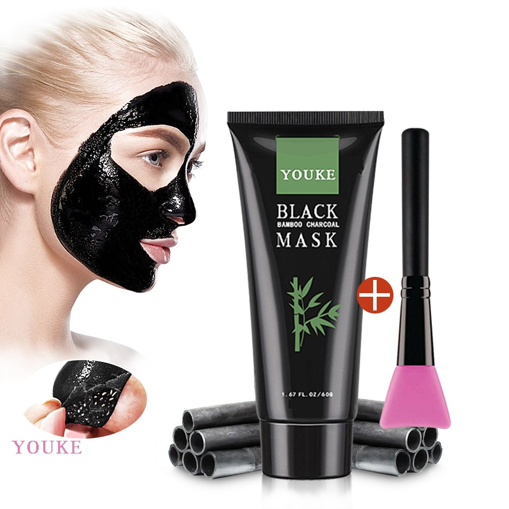 Blackhead Remover Mask with Brush, Charcoal Purifying Blackhead Acne Remover Peel-Off Facial Deep Cleaning Black Mask 60 G Youke