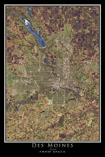 Des Moines Iowa Satellite Poster Map S