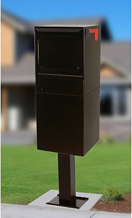 Amazon Com Dvault Parcel Protector Vault Dvu0050 Locking Mailbox With Top Mount Above Ground Post Included Black Garden Outdoor