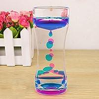 Sablier avec liquide flottant double couleurs, avec gouttelettes d'huile en mouvement et bulles