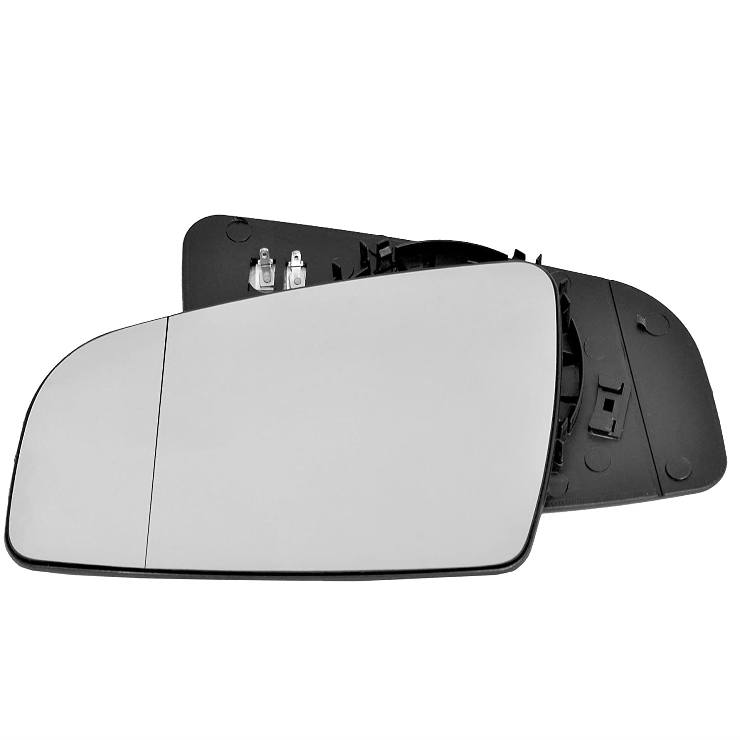 Passenger left hand side wing door mirror convex glass heated with backing plate
