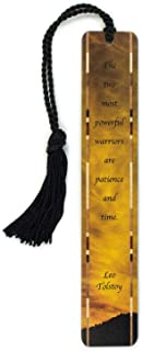 product image for Utah Sunset Color Photograph with Added Leo Tolstoy Patience and Time Quote - Handmade Wooden Bookmark with Tassel - Search B071G45HXX for Personalized Version
