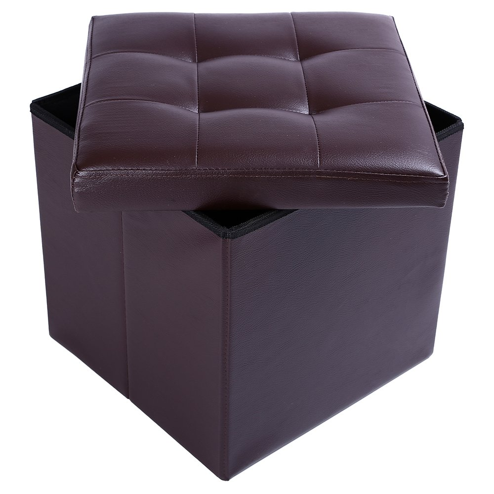 15'' Storage Ottoman Folding Stool,Collapsible Cube Faux Leather Coffee Table,Foot Rest Seat,Clutter Toys Collection Brown by epeanhome (Image #5)