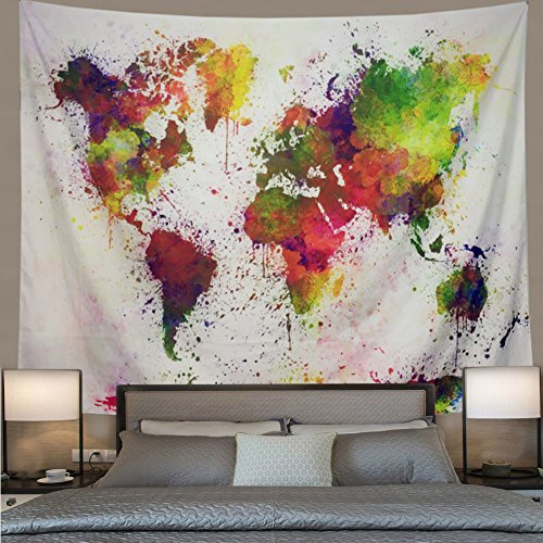 Colorful Wall Map - DIPPERION Watercolor World Map Tapestry Abstract Painting Wall Hanging Blurry Map Tapestry Colorful Retro World Map Wall Tapestry Mandala Bohemian Tapestry Wall Hanging Geography Tapestry