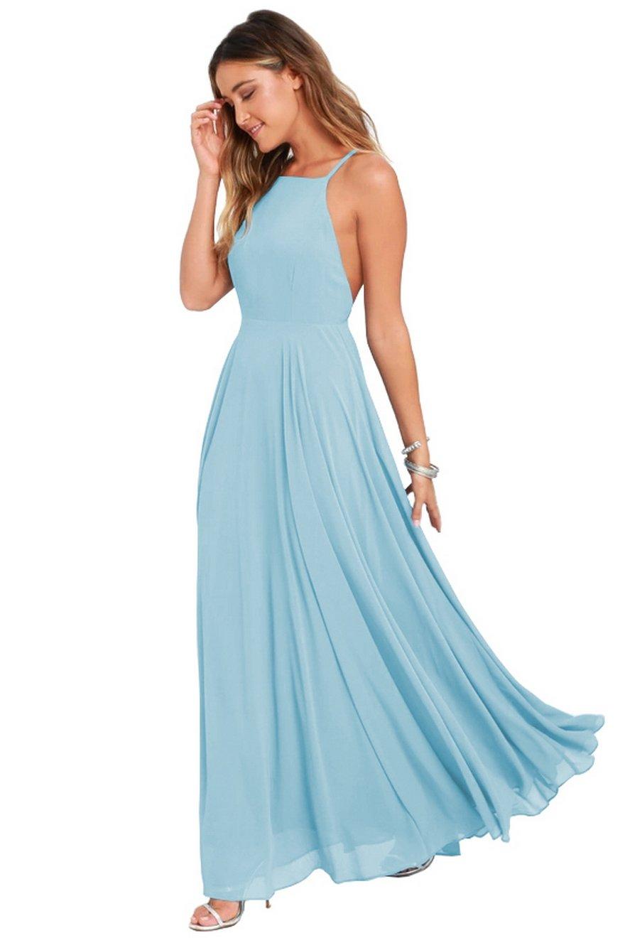 fc493dc16d0e Women's Halter Chiffon Formal Party Dress Long Backless Evening Prom Gown  Size 14 Light Blue