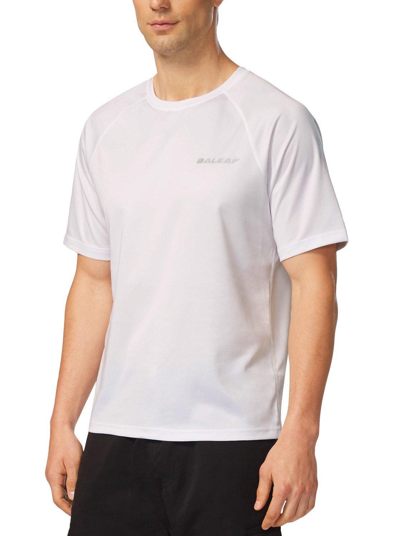 Baleaf Men's Short Sleeve Solid Sun Protection Quick-Dry Rashguard Swim Shirt UPF 50+ White Size M