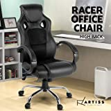 Artiss Adjustable Racing Office Gaming Chair Executive Desk Chair with Casters (Black)