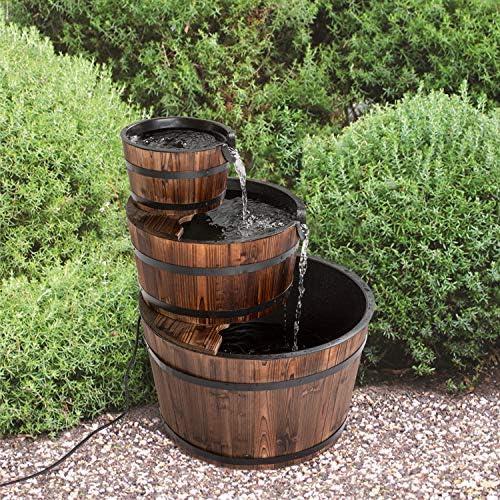 Fuente de agua de madera rústica para jardín al aire libre con ...