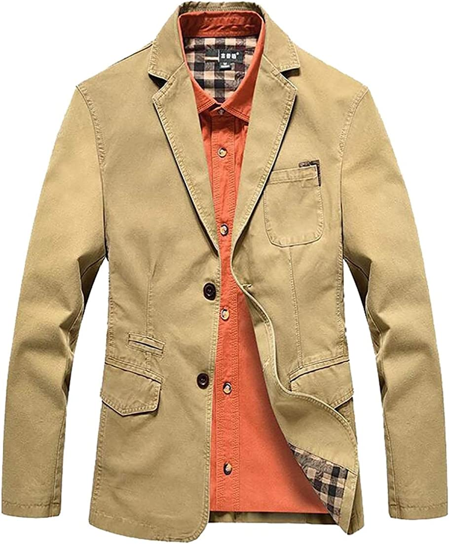 X-Future Mens Slim Fit Two Button Lapel Casual Flap Pockets Solid Blazer Coat Jackets