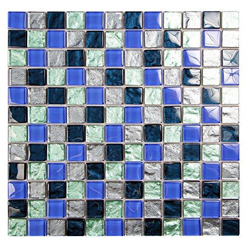Avorio Tile (Splash Metallic Green Pool Tile Glass Mosaic - 1x1 Squares of Dark Blue, Grey, Green Glass Tile - Mesh Mounted Sheet (4 x 6 Inch Sample))