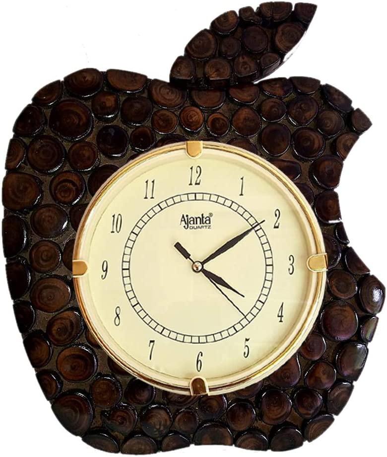 sdshopping Home Decor Apple Shape Wooden Wall Clock for Living Room
