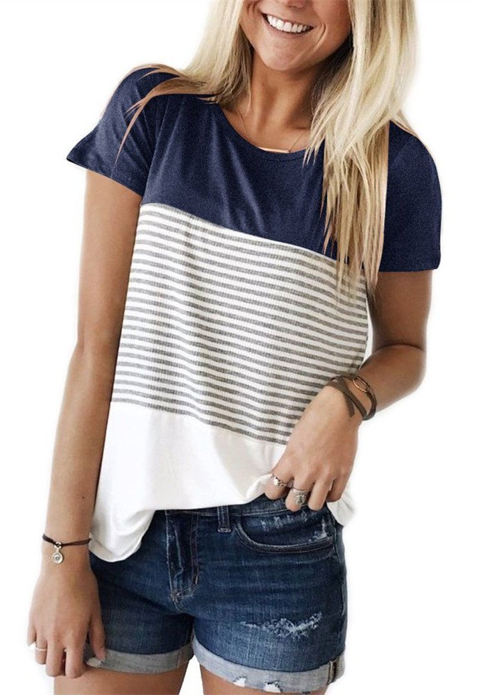 TBONTB Womens Tops Short Sleeve Striped Tshirts Round Neck Color Block Blouse Large Blue