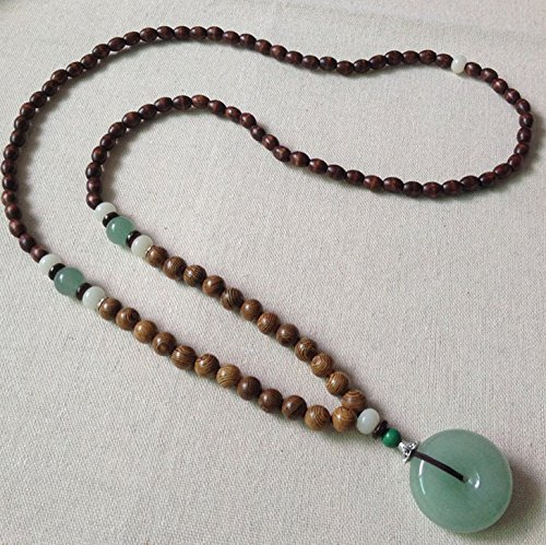 - National wind handmade wooden bead sweater chain men and women Tanglin jade beads necklace pendant Chinese wind long section accessories hanging