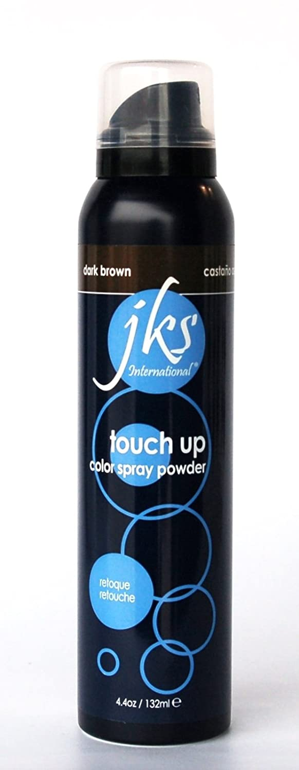 JKS Touch Up Spray DARK BROWN, hair color spray powder, comes out with one shampoo
