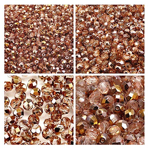 Czech Fire-Polished Faceted Glass Beads Round 3mm, 4mm, 6mm, 8mm, Crystal Capri Gold. Total 275 pcs. Set 1CFP 011 (3FP064 4FP090 6FP008 8FP049)