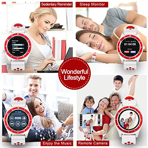 Bluetooth Smart Watch, iFunTec Touch Screen Smart Wrist Watch with Camera Water-Resistant Fitness Tracker w/Pedometer Sports Smartwatch w/Phone Sim Card Slot for Android iPhone Samsung Men Women Kids by iFunTec (Image #2)