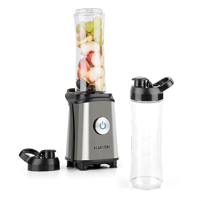 Klarstein Tuttifrutti Mini-Mixer batidora (350 W, Cuchillas en Cruz Acero Inoxidable, 2 recipientes de 600 ML sin BPA, 2 Tapas para los Vasos, ...