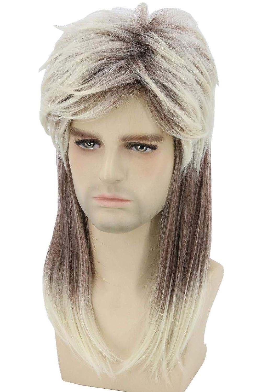Topcosplay Men Wigs 80s Blonde Mullet Wig Hillbilly Costume Redneck Wig Joe  Dirt Wig White Trash Costume Halloween Wig(Ombre Blonde)