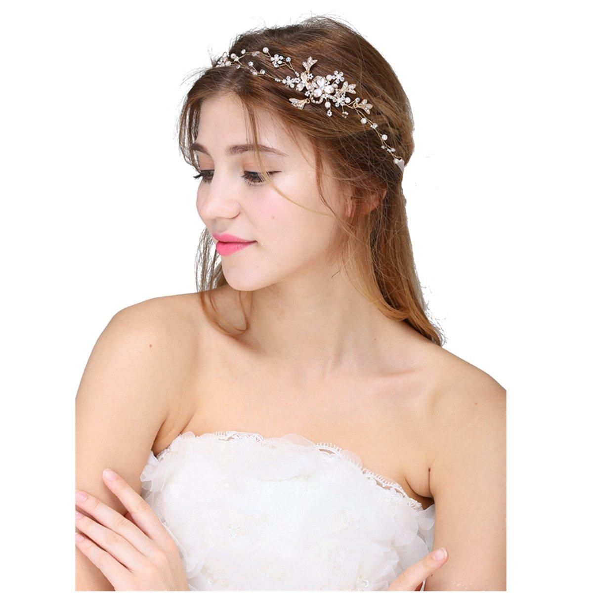 Hopefultech Strass perla capelli sposa bande pettine da sposa accessori per  capelli da sposa fascia fermacapelli perline strass Perline con strass di  ... b75715fd772c