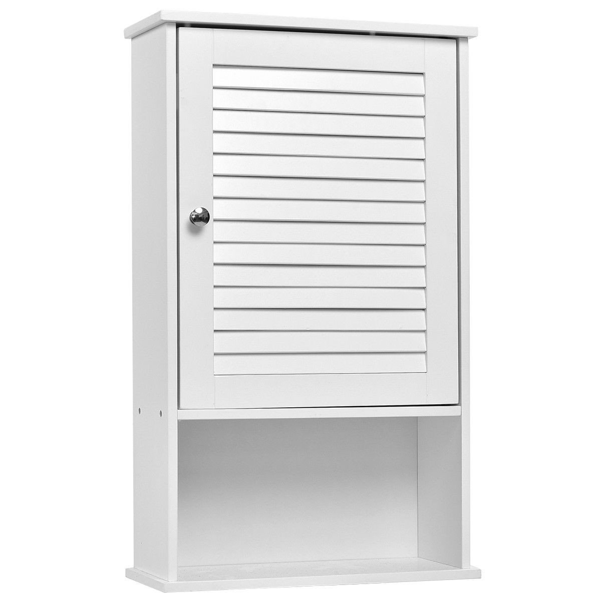 GentleShower Storage Cabinet, Wall-Mounted Bathroom Cabinet with Shutter Door and Height Adjustable Shelf, Elegant Cabinet Cupboard in Storage Toiletries and Hygiene Products, White