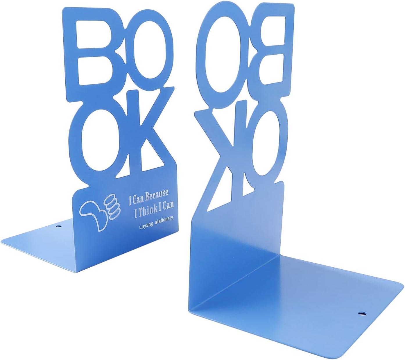 Studenten Geschenk 1 Paar Blau, H/öhe 205mm Metall Buchst/ütze Einfachen StilBOOK Alphabet Form Rutschfeste Buchst/ützen f/ür Schreibtisch Zuhause Dekoration B/üro