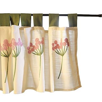 tine Home tende tenda a pacchetto in tulle rosa Dandelion ricamato ...