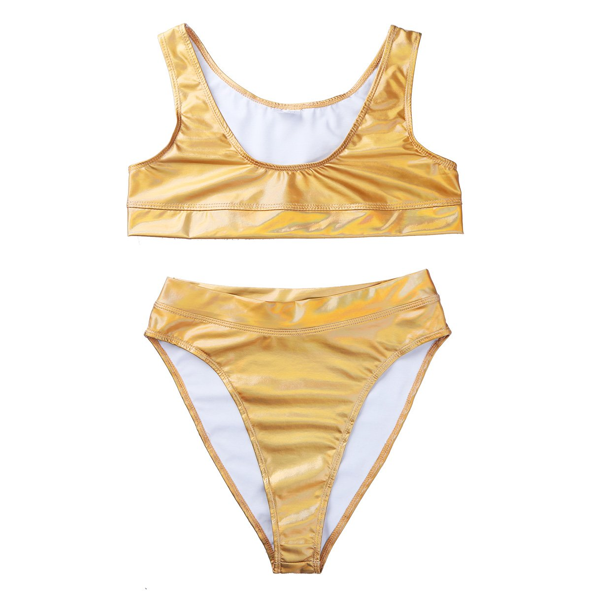 3386d0ef76f9a6 Amazon.com  Alvivi 2Pcs Women Shiny Metallic Patent Leather Bikini Crop Top  with High Waist Thong Set Swimsuit  Clothing