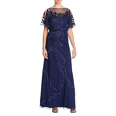 Amazon Aidan Mattox Womens Mesh Cold Shoulder Formal Dress Navy