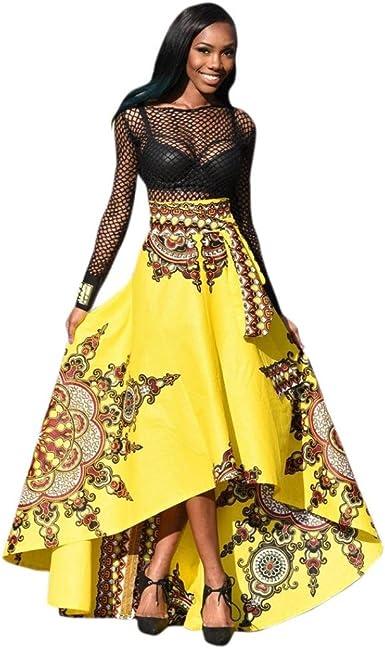 Lonupazz Maxi Robe De Soiree Africaine Manche Longue Femme Ete Boheme Imprimee Robe De Plage Amazon Fr Vetements Et Accessoires