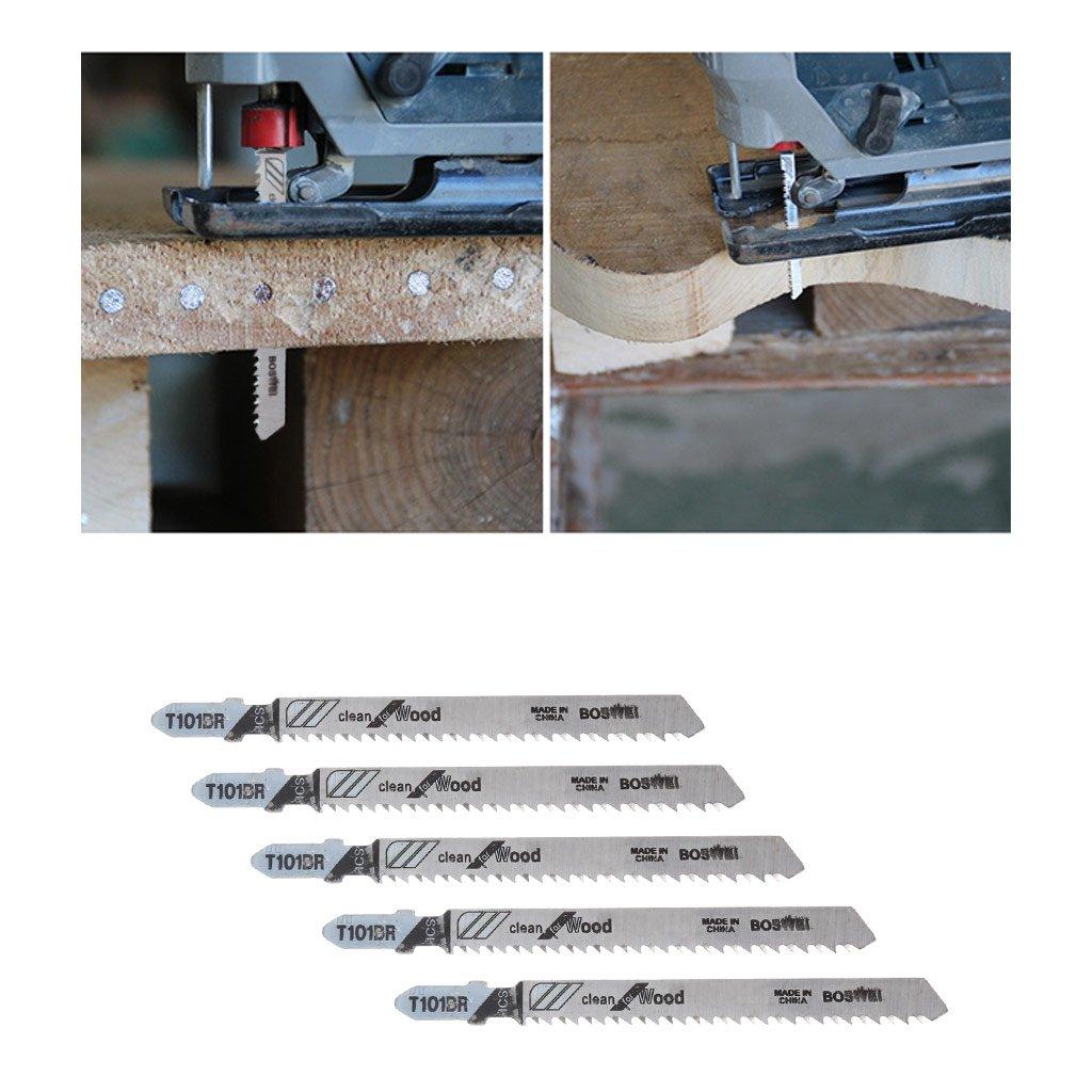 ruiruiNIE 5 Piezas T101BR HCS 100 mm Hojas de Sierra de calar limpias para Cortar Madera laminada
