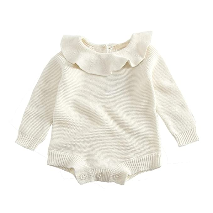 ad12bf820a0e Amazon.com  GObabyGO Baby Girls Long Sleeve Doll Collar Knitted ...
