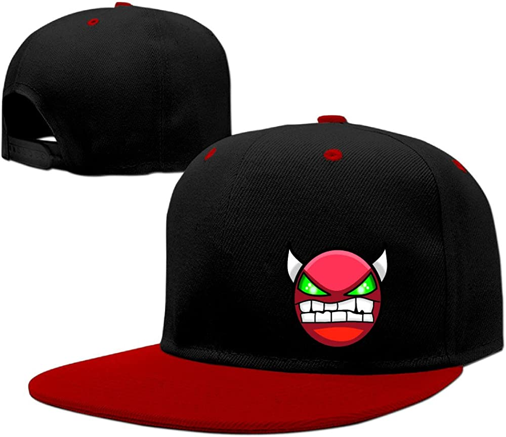 ZZYY Fashion Unisex Cotton Flat Hat Geometry Angry Dash Adjustable Plain Hat Contrast Color Red