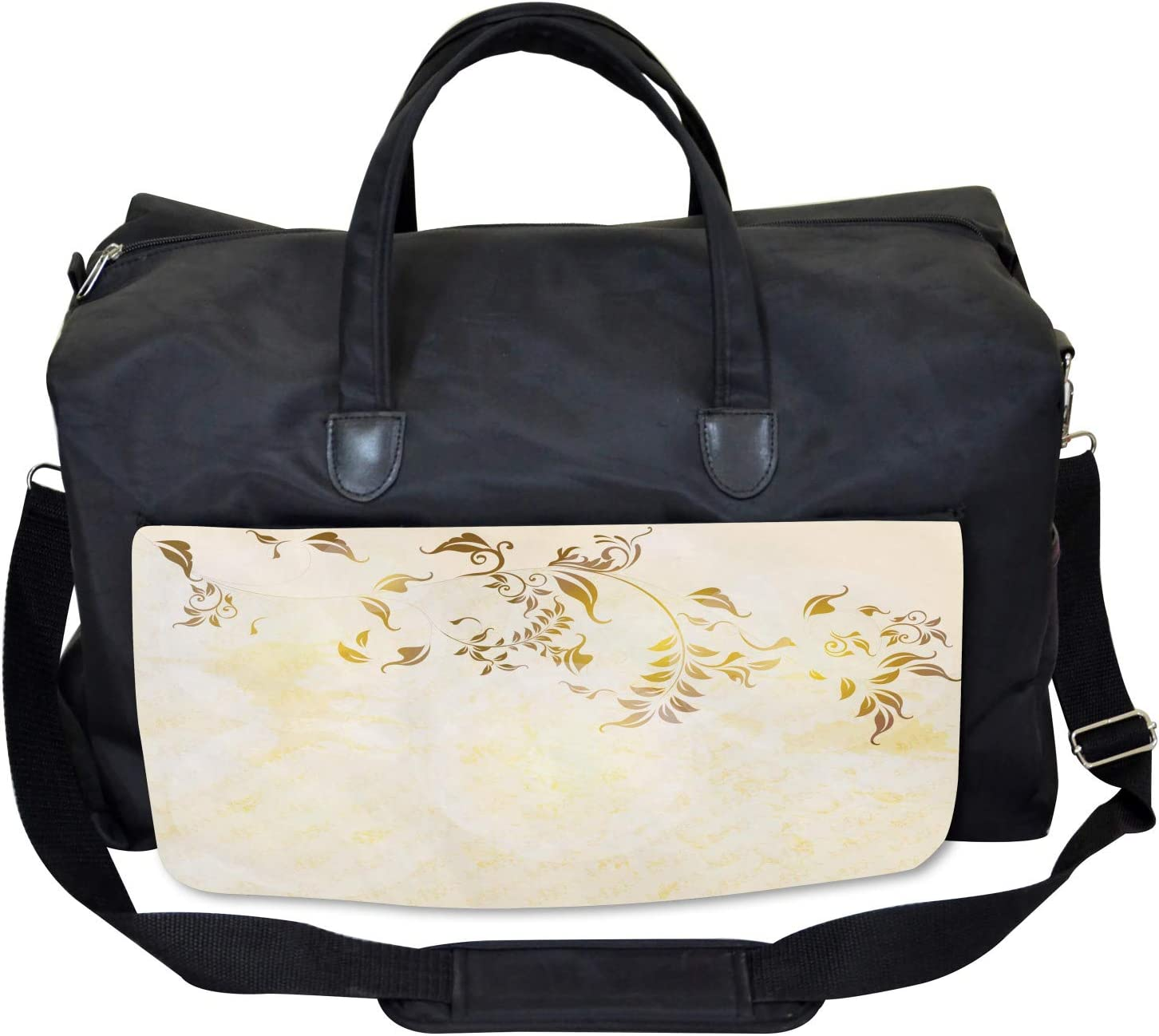 Large Weekender Carry-on Antique Vintage Ornament Ambesonne Beige Gym Bag