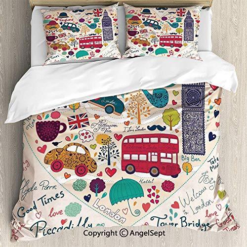 (3 Piece Duvet Cover Set, Set Duvet Cover Set, Soft Microfiber Bedding Set,Colorful Symbols Red Bus Big Ben Tea Umbrella Hat Retro Black Cabin in a Heart Print,Queen Size,Breathable,Not easy to fade,)