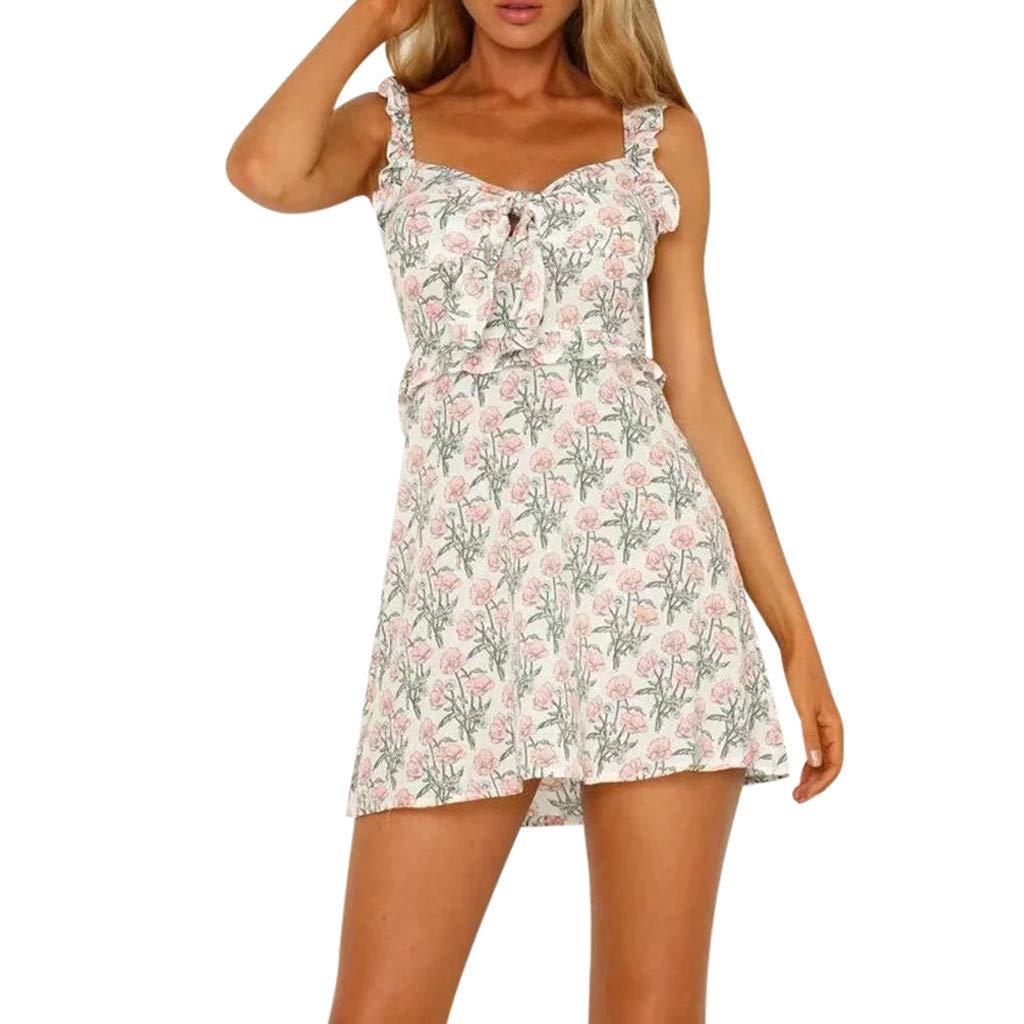 acceac0402a53 Amazon.com  Fainosmny Women Dress Sexy Backless Dress Broken Flowers Sling  Camisole Dress Bandage Slim Dress Off Shoulder Party Dress  Clothing