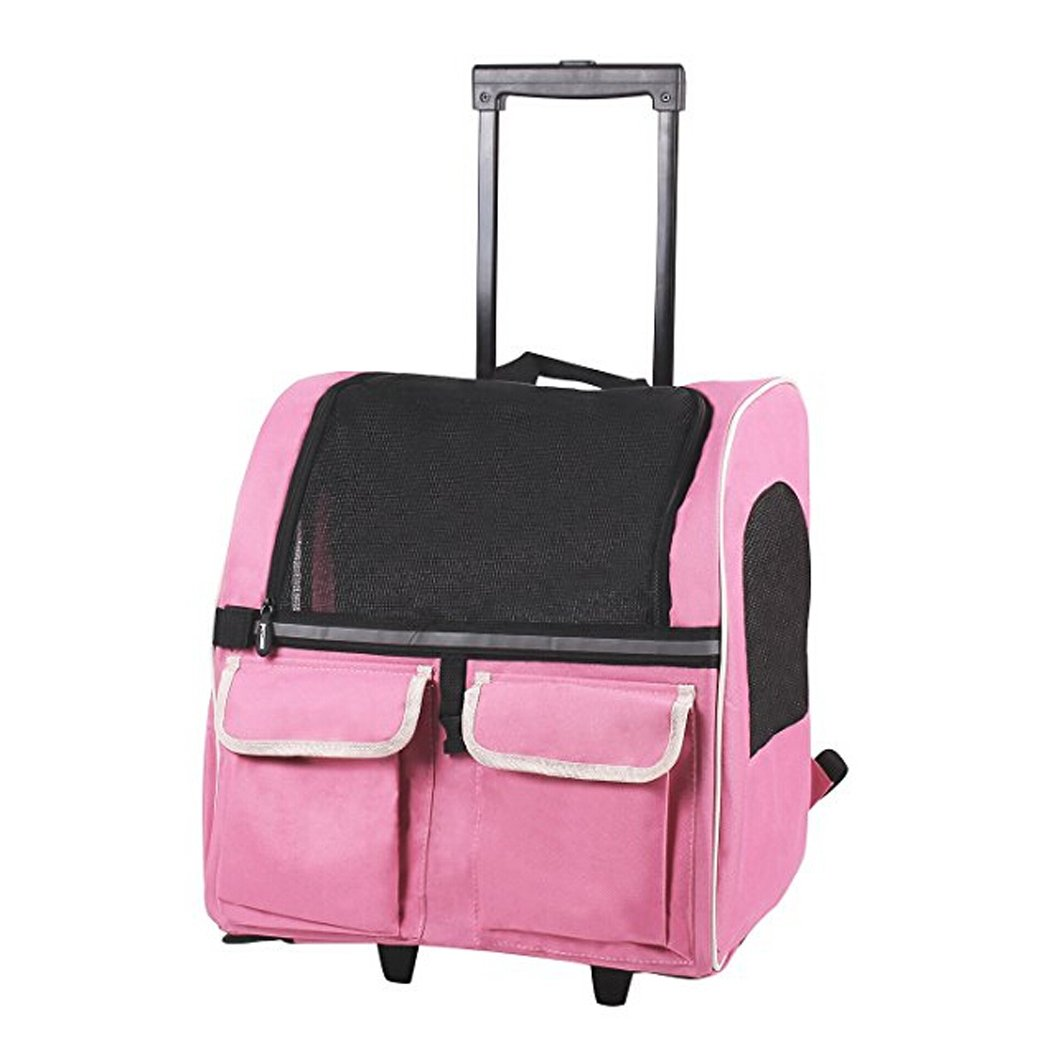 Meiying Roll Around 4-in-1 Pet Carrier Travel Backpack for Dogs and Cats Travel Tote Airline Approved (Pets up to 17 Pounds, Pink)