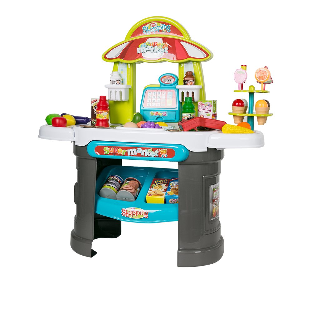 Karmas Product Plastic Shopping Market Grocery Play Stand with Cash Register Learning Toys for Toddlers by Karmas Product