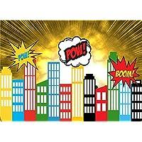 Daniu Screen Background Super Hero City Photo Props for Studio Cartoon Baby Backdrops Vinyl 7x5FT 210cm X 150cm Daniu-sc016